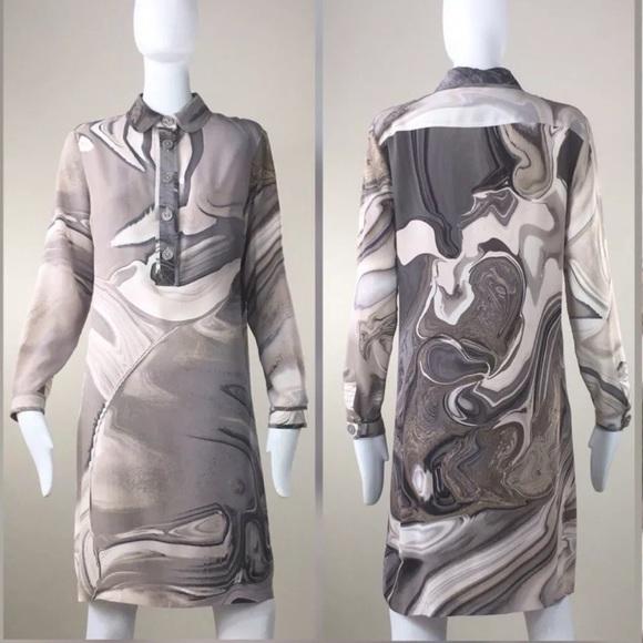 Burberry Dresses & Skirts - Burberry Silk Abstract Print Shirt Dress EU42/US8